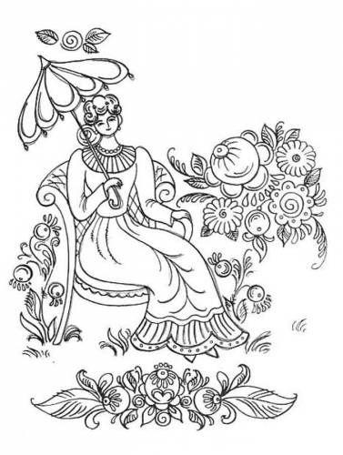 Раскраска девушка в саду городецкая роспись | Раскраски ...