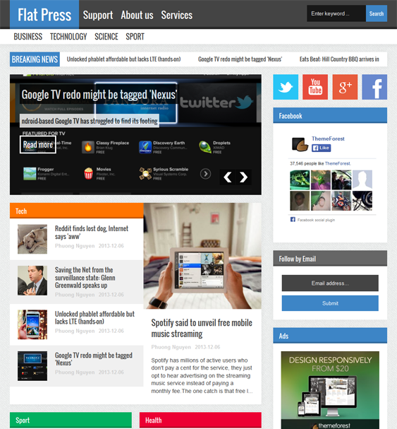 This flat Blogger theme offers a responsive layout, a news