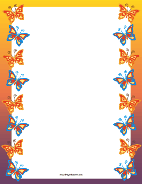 Orange And Blue Butterfly Border Flower Frame Butterfly Wallpaper Clip Art Borders
