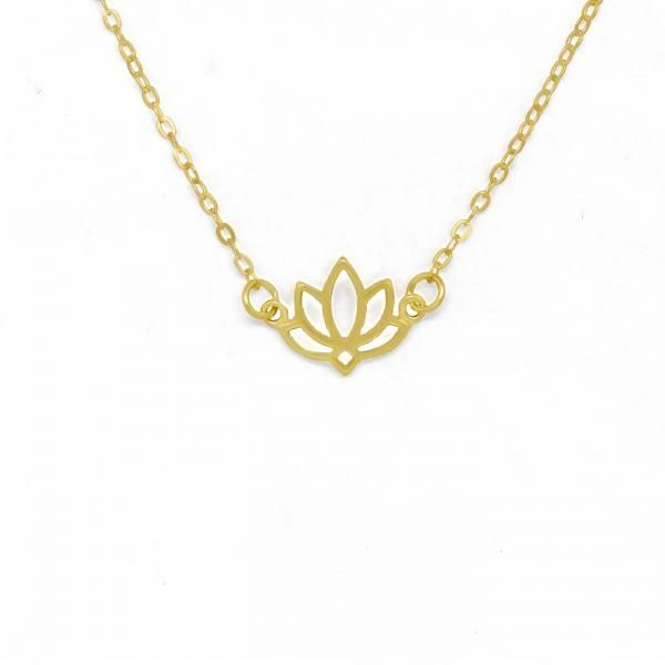 Photo of Gelbe Lotusblume 925 Sterling Silber Gold Halskette – Gelbe Lotusblume 925 …