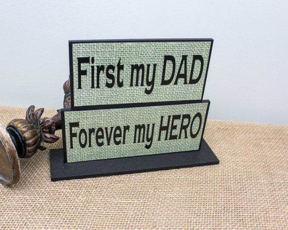First My Dad Forever Hero Christmas Gift Wood Sign Birthday Personalized Gifts For Him By TimelessNotion