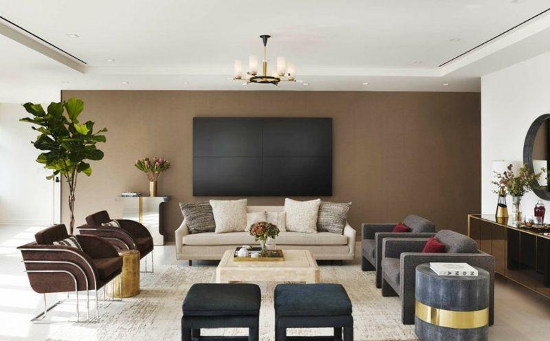 Gut Wandgestaltung In Braun U2013 50 Wohnzimmer Wohnideen #braun #wandgestaltung # Wohnideen #wohnzimmer