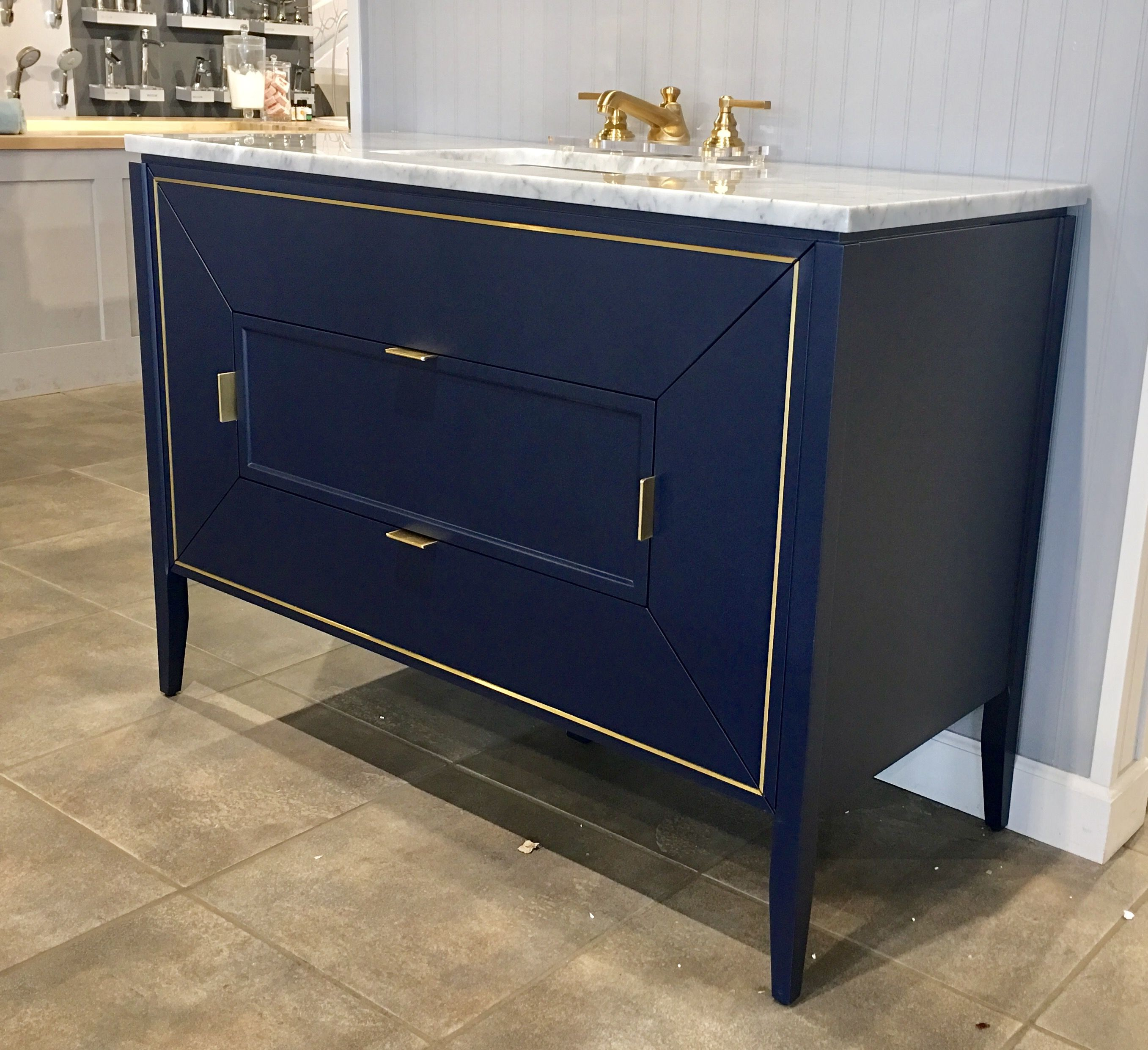 Stunning navy and gold vanity by RonBow. Available in three ...