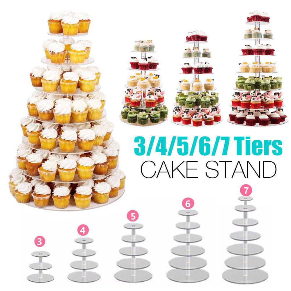 Acrylic Cake Stand Birthday Wedding Party Cupcake Display Holder 3//4//5//6//7 Tier