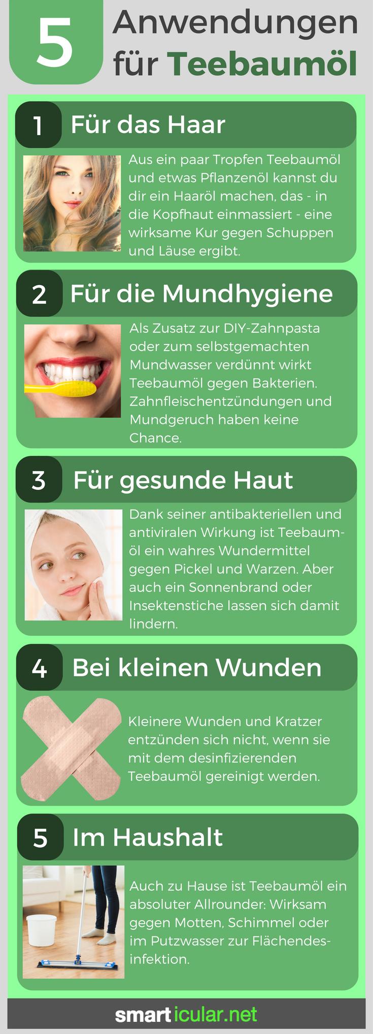 Anwendungen Fur Teebaumol Fur Haushalt Und Korperpflege Mundhygiene Teebaumol Anwendung Hausmittel