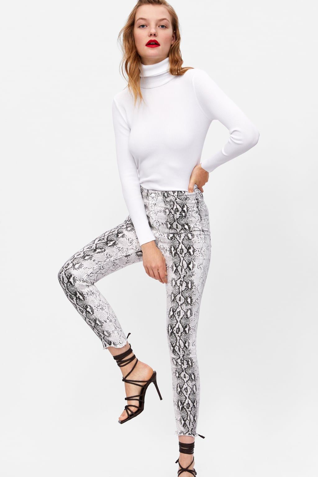 yet not vulgar fashionable and attractive package official store Image 7 of ZW PREMIUM HIGH WAIST SNAKE PRINT JEANS from Zara ...