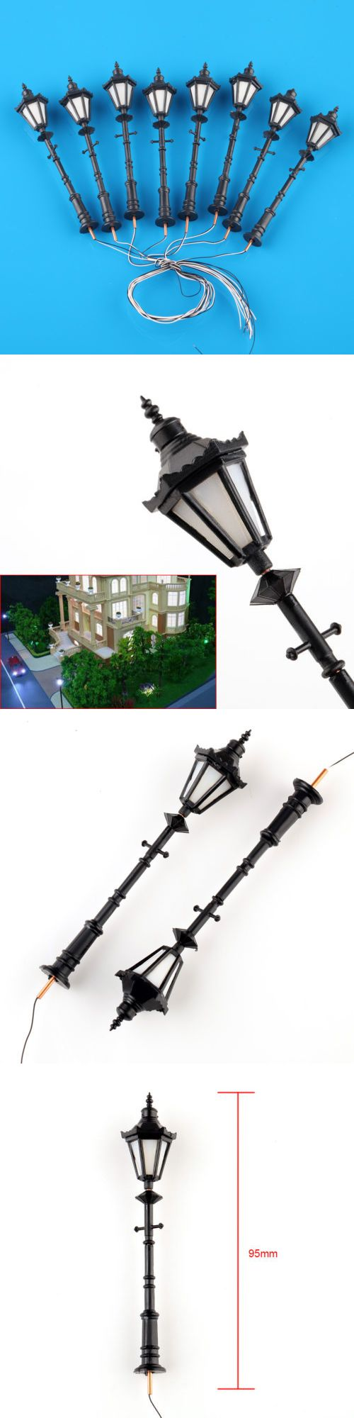 Lamps and lights 80984 8pcs model railway led lamppost lamps g scale 125 antique street lights buy it now only 12 99 on ebay lamps lights model