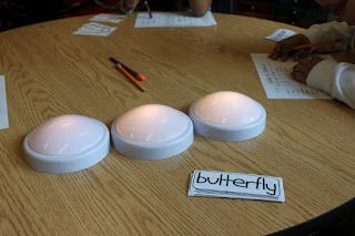 tap lights for syllable work with a free printable worksheet.  could use tap lights or smaller LED lights.  turn them on as you sound out each syllable