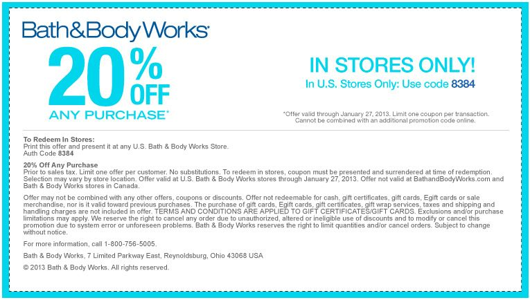 Bath   Body Works coupon   Bath   Body Works promo code from The Coupons  App  off at Bath   Body Works September. 20  off Your Purchase    Couponing   Pinterest   Printable