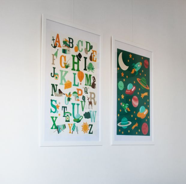 Gorgeous babyroom with two Oktoberdots posters by Heleen Frans (photo by Heleen)