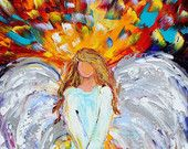 Angel of Hope and Light Gallery Quality Giclee Print on canvas made from image of Original painting by Karen Tarlton fine art