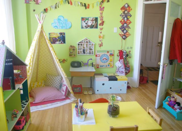 love all this..love the teepee, the dollhouse and the colors...the banner..the smalll bench by the door that most likely lifts for storage