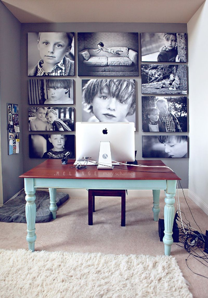 Woman At White Theme Desk Office Gallery Wall Artwork