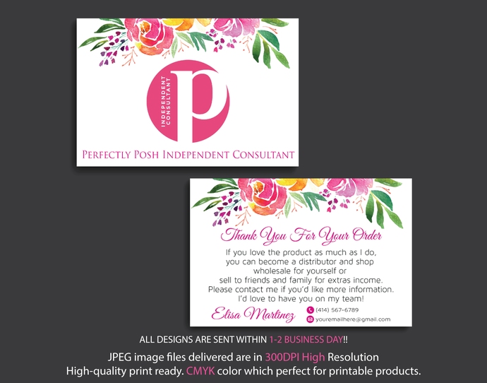 Personalized Perfectly Posh Thank Cards Perfectly Posh Thank You Card Perfectly Posh Cards New Logo Watercolor Cards Ps04 Perfectly Posh Personalized Thank You Cards Watercolor Cards
