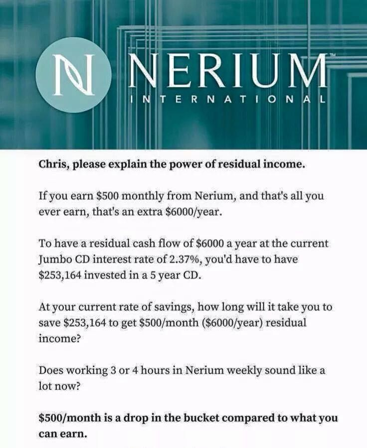 Don't have retirement?  Let Nerium help you build a residual income!