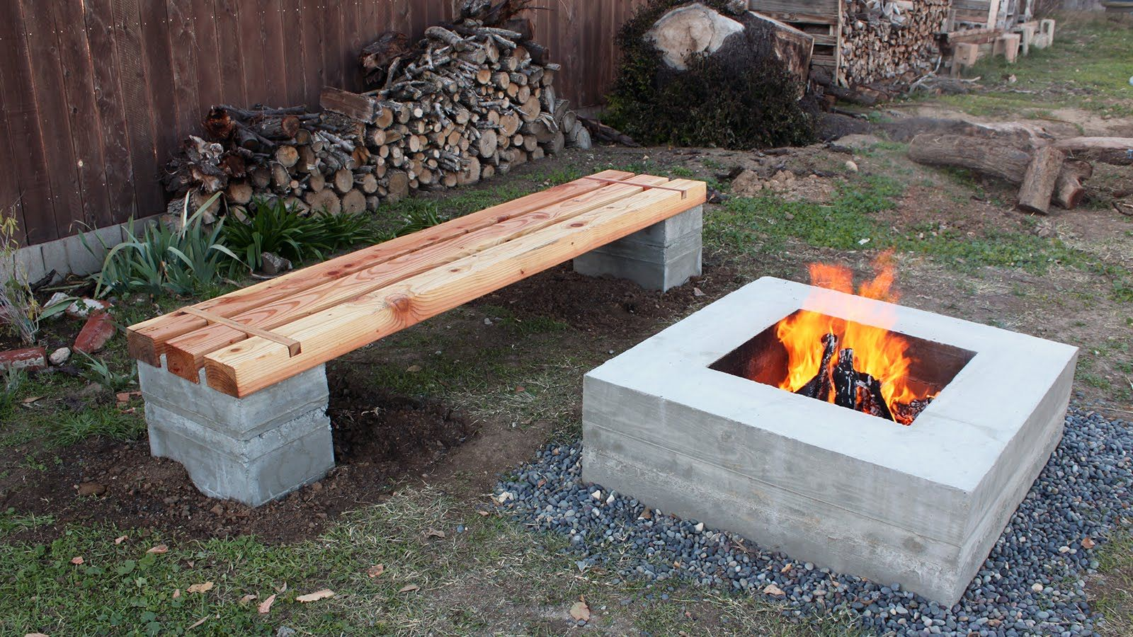 How to make outdoor concrete and wood bench - YouTube