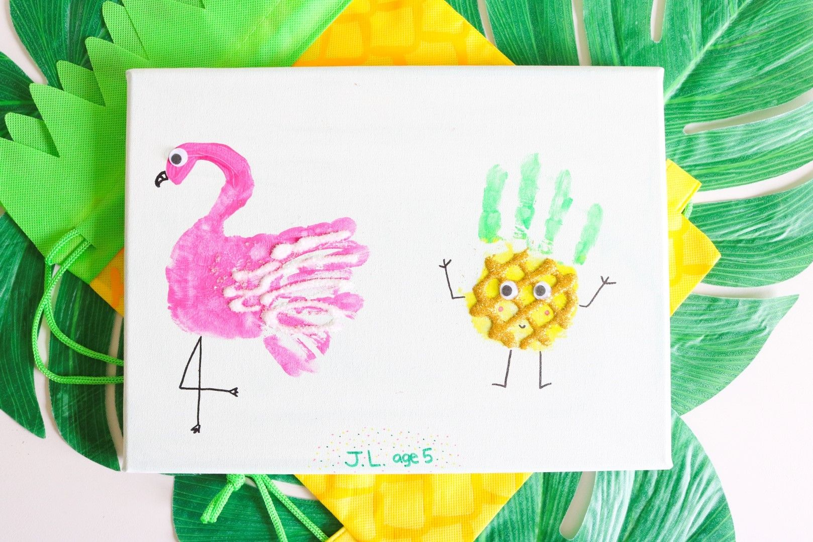Küchentücher Flamingo Flamingo And Pineapple Handprint Kids Craft Parties Fun