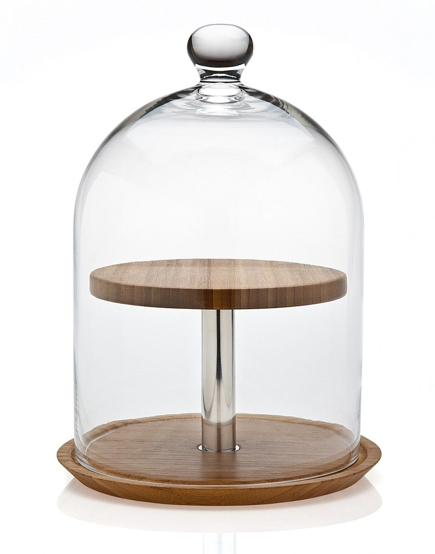 Finest 2 Tier Wood Cheese Server with Glass Dome | House + Ware  VZ01