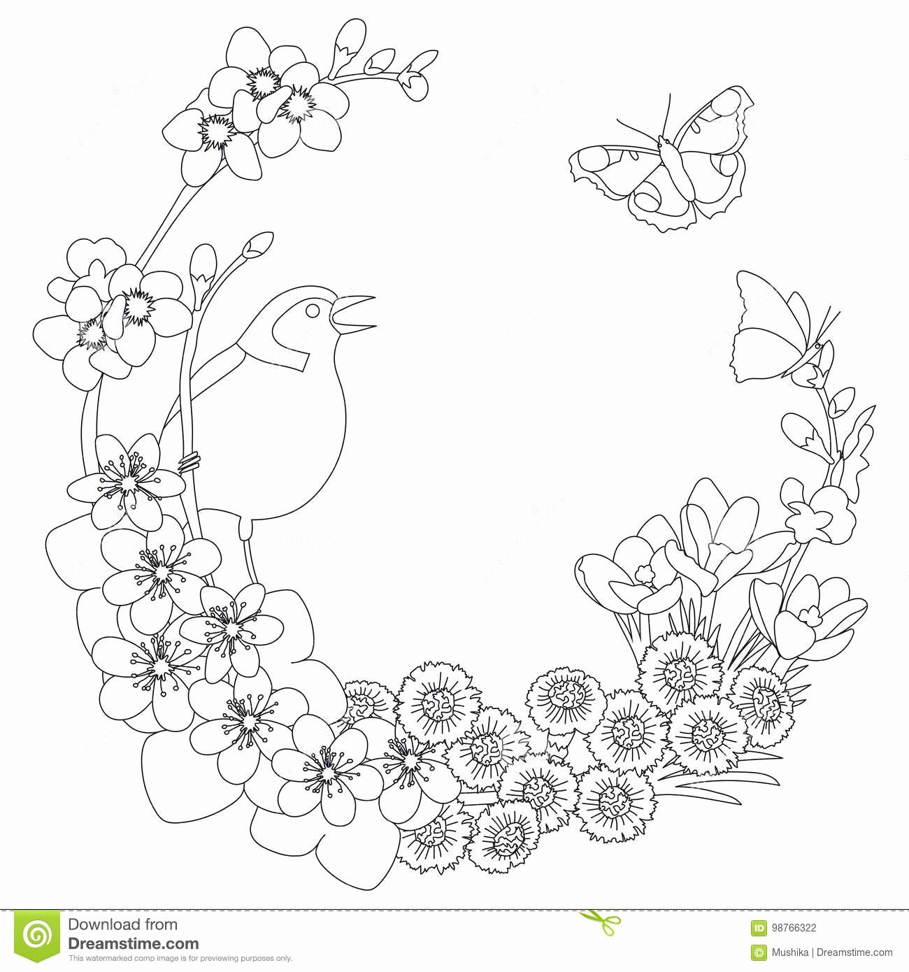 Coloring Book Flower Printable Unique Coloring Page Wreath