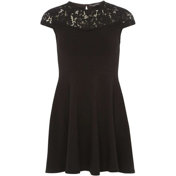 Dorothy Perkins Black Lace Jersey Skater Dress (£20) ❤ liked on Polyvore featuring dresses, black, jersey dresses, skater dresses, lace dress, short-sleeve skater dresses and short sleeve lace dress