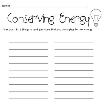 Conserving Energy Worksheet | Teaching-Earth Day | Water ...