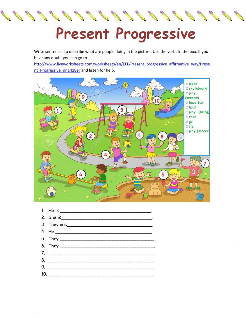 Present Continuous Interactive And Downloadable Worksheet You Can Do The Exercise English As A Second Language Eighth Grade English As A Second Language Esl [ 1291 x 1000 Pixel ]