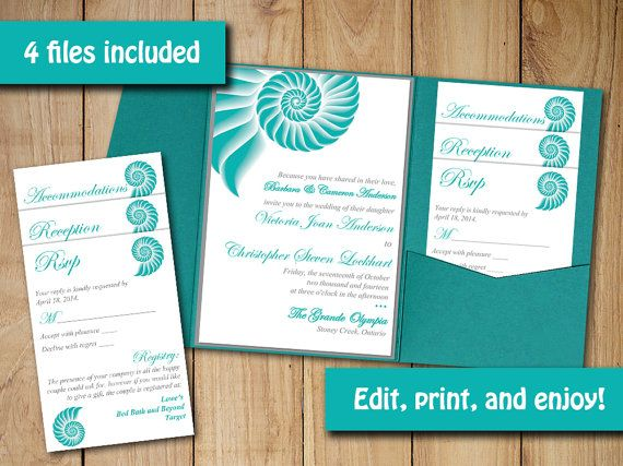 pocketfold wedding invitation template set beach wedding