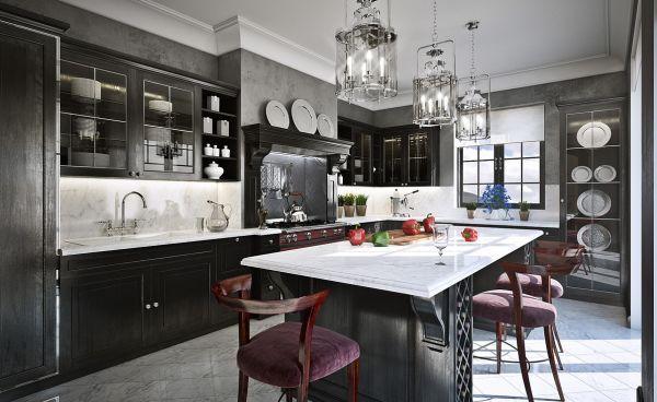 dark cabinets light counters mi casa su casa Pinterest Gray