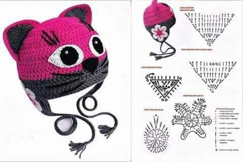 Gorro de gato a crochet | gorros | Pinterest | Gato, Gorros y Tejido