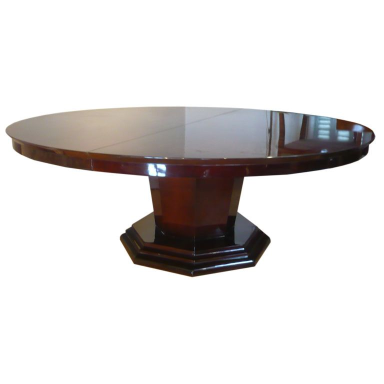 1stdibs French Art Deco Very Big Round Dinning Table One Leaf Round Dining Table Dining Table Dining Room Table