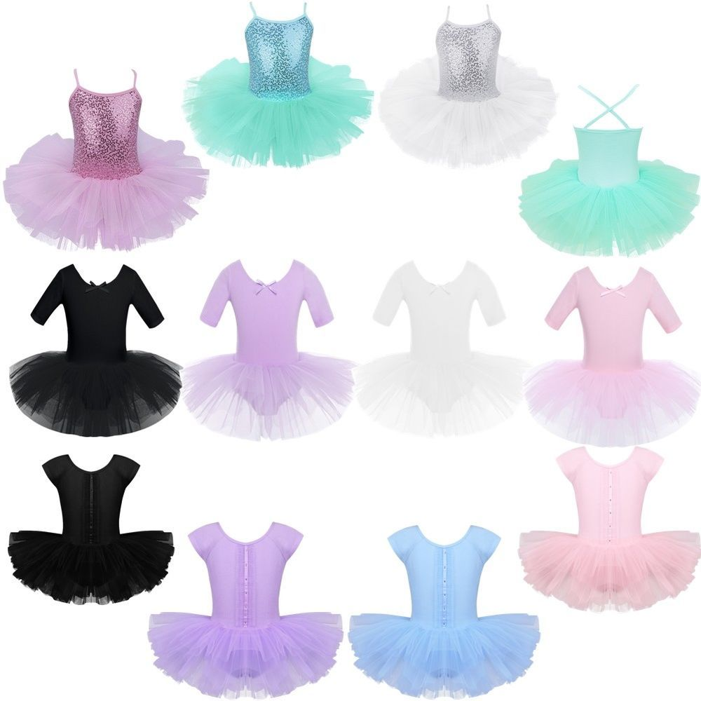 Girls Ballet Dance Dress Gymnastics Leotard Tutu Skirt Skating Costume Dancewear