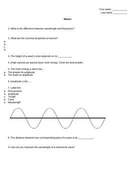 Properties Of Waves Worksheet Review Sheet Or Quiz With Answer
