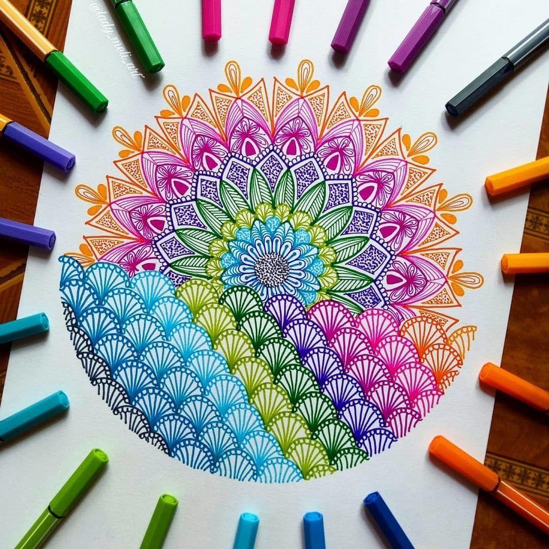 Wij Worden Helemaal Vrolijk Van Deze Betoverende Mandala Van Lady Meli Art Stabilonl Mandala Mandala Art Lesson Mandala Design Art Doodle Art Designs