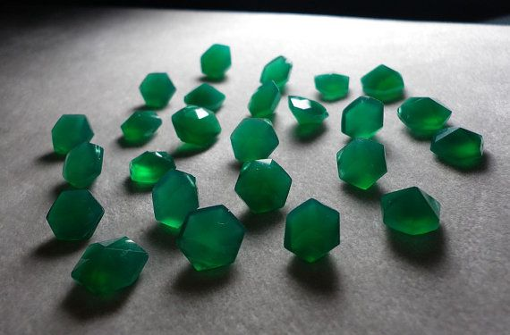 Green Onyx Faceted Rare Hexagonal Diamond Cut Beads by ValueBeads