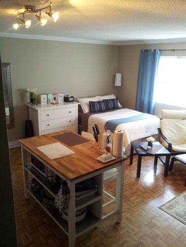 Studio Apartment That Island Is A Table Storage Unit And Counter Very Practical Small Studio Apartment Design Studio Apartment Layout Apartment Layout