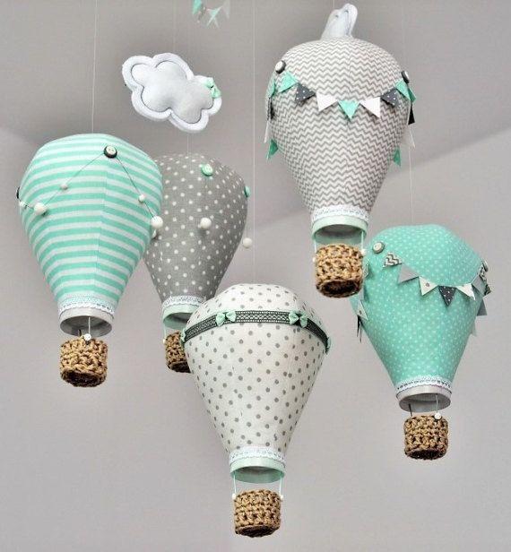 Heissluft Ballon Baby Mobile Grau Mint Weiss Dekoration Taufe