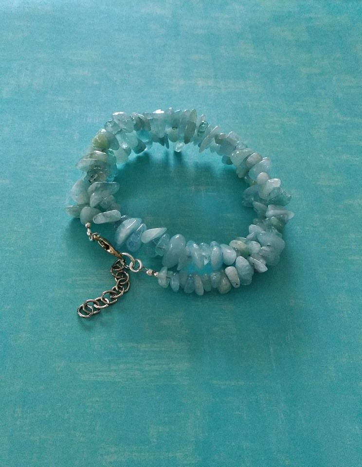 Aquamarine Wrap Bracelet Aquamarine Is Good For All Types Of Calming And Cooling From Hot Flashes To Ang Simple Creations Jewelry By Nicole Clark In 2019