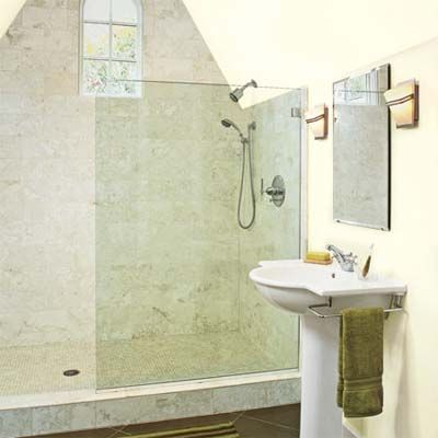 Attic Becomes A Suite Retreat Upstairs Glass Partition Attic Bathroom And Shower Enclosure