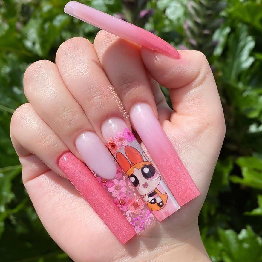 Dippy Cow Nails On Instagram How S That For Length Pexnails Using My Powerpuff Girls Decals 3 For 2 D In 2020 Opal Nails Summer Manicure Long Square Nails