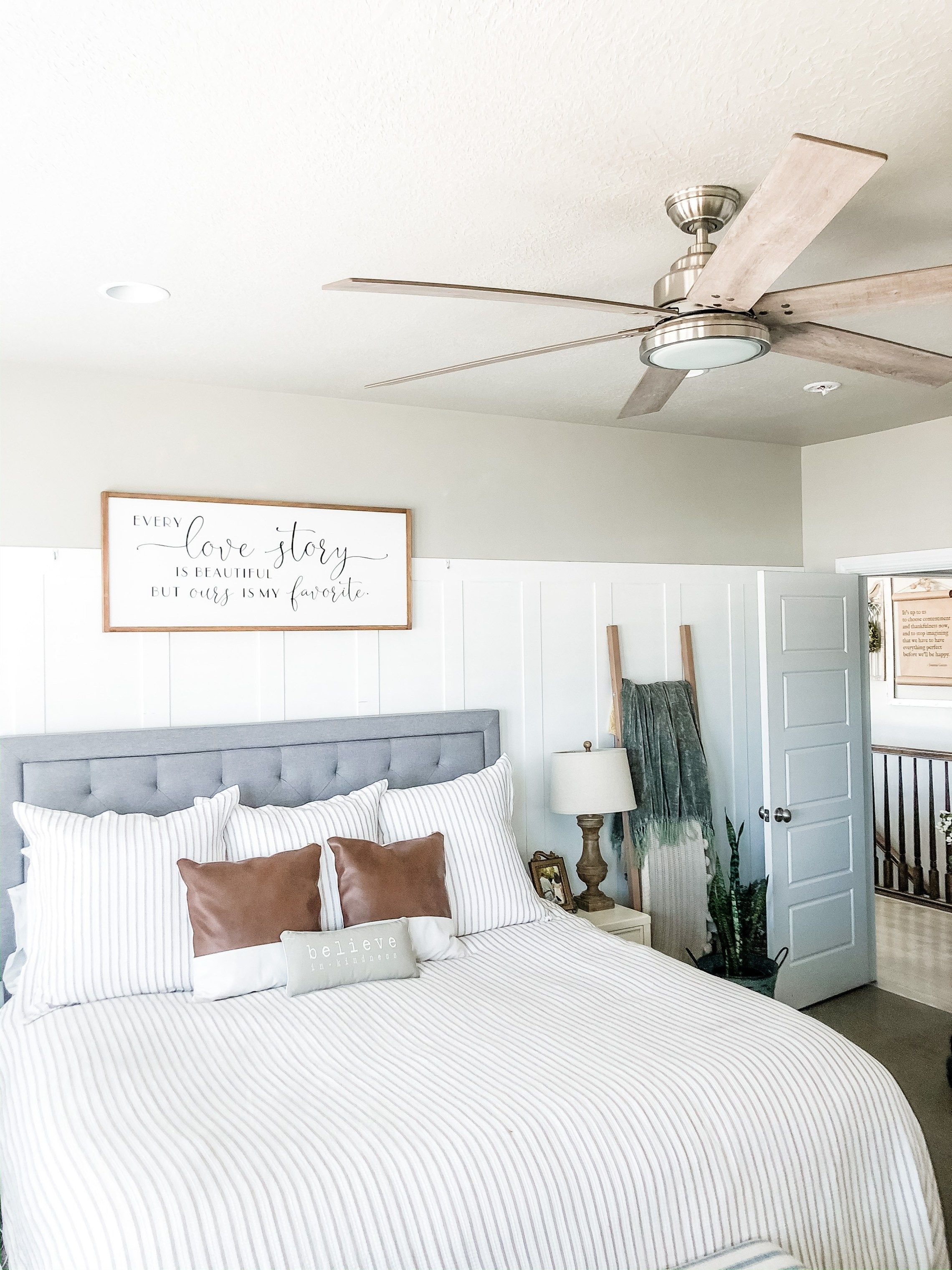 Simple Master Bedroom Update Ceiling Fan Installation With
