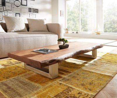 Wohnzimmertisch Live-Edge Akazie Braun 165x60 cm Baumkante Kufenfuß