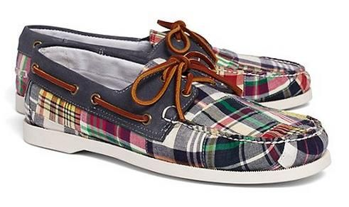d3f1e1978aa Brooks Brothers Patchwork Madras Boat Shoes