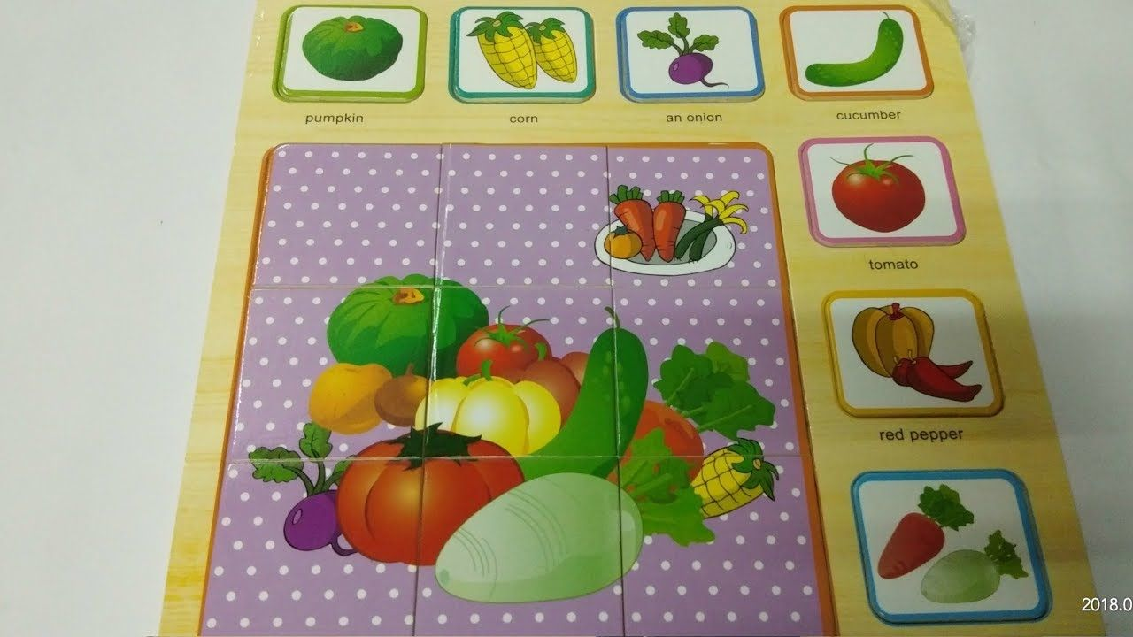 Toys images with names  Learn names of vegetables with wooden puzzle toy kids learn veggies