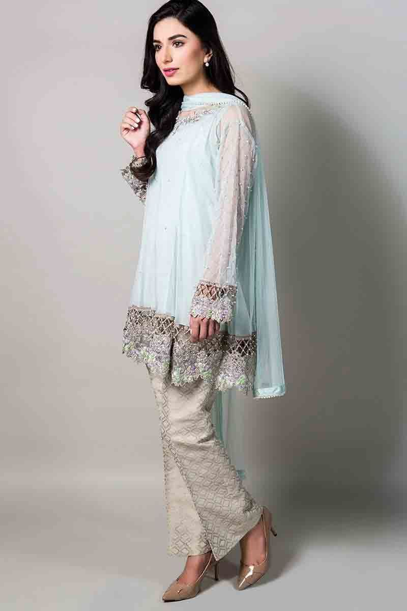 18c0c71617aa4 sky blue net kurti with matching dupatta and pants latest maria b fancy  party wear eid dresses 2017 with price for girls