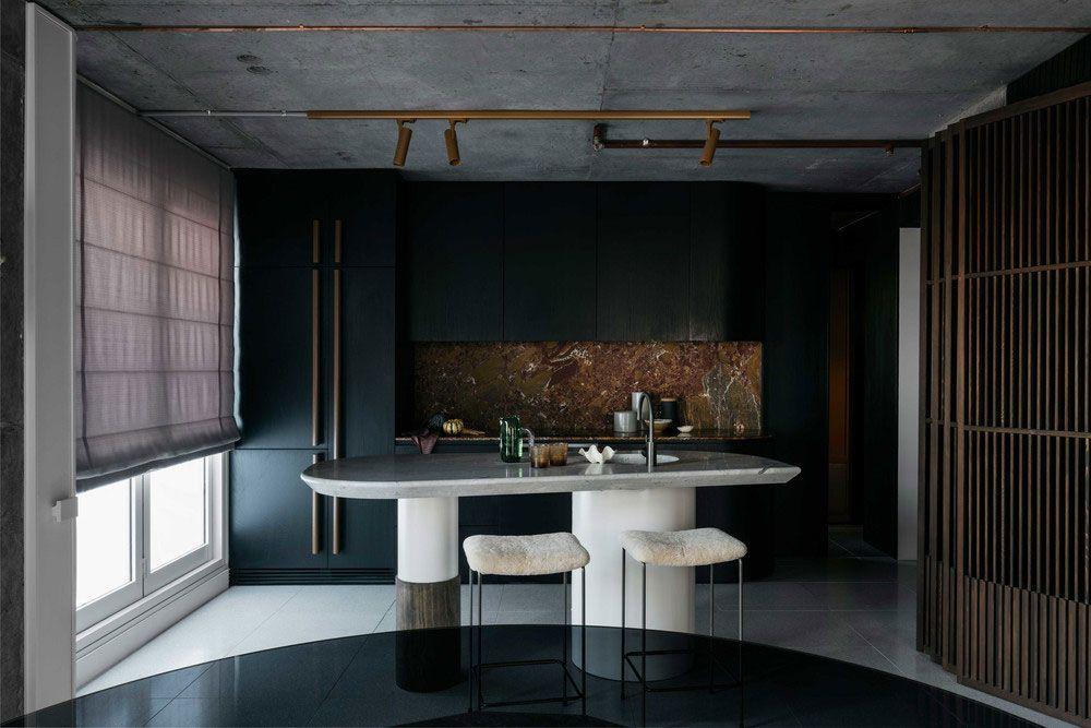 Black And Concrete Stylish Bachelor Apartment In Sydney Chernaya