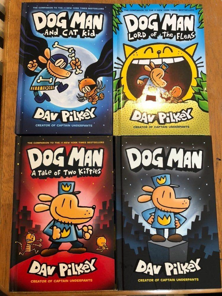 Set of 4 Dogman books by Dav Pilkey. Includes Dogman