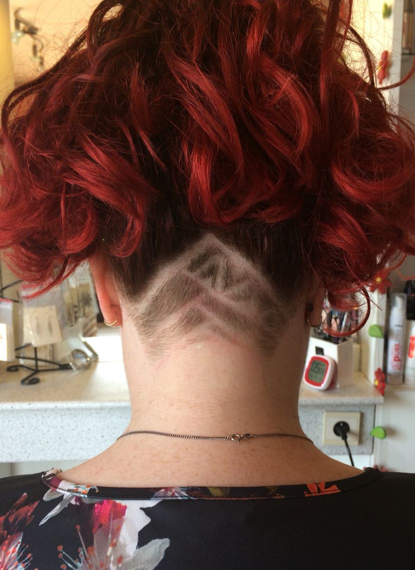 My aztec nape undercut Red ombre