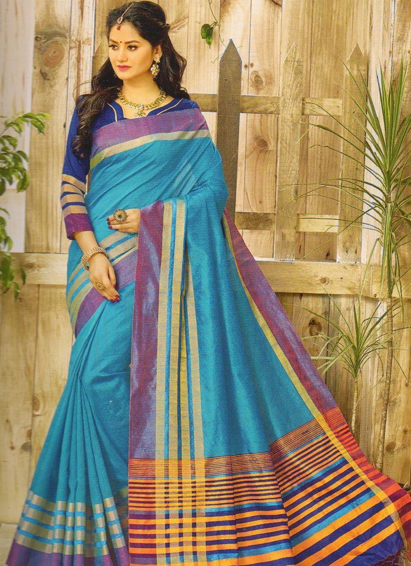 471b5680d06fd3 Shop Sky Blue Color Banarasi Printed Khadi Cotton Saree Online ...