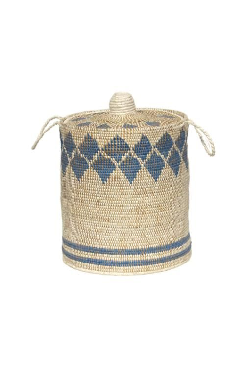 Handmade Moonj Grass Laundry Basket (Indigo) – Okhaistore