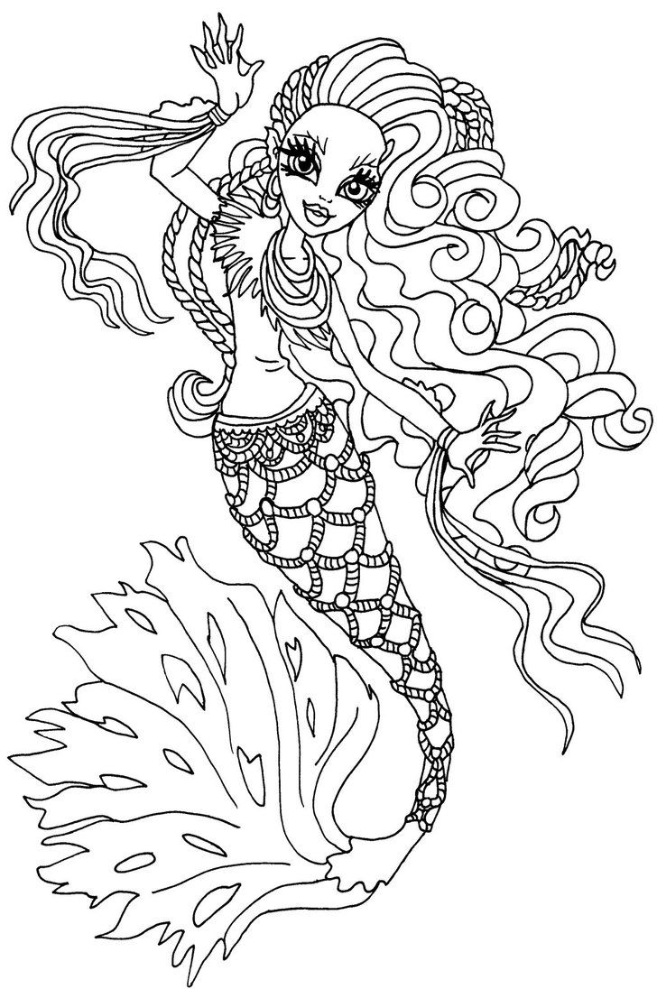 monster high coloring pages sirena